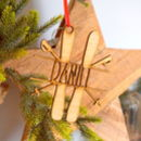 Personalised Wooden Ski Christmas Decoration