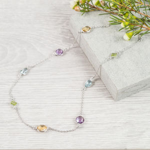 Multi Gemstone And Sterling Silver Necklace