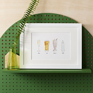 Personalised Favourite Drinks Illustration Print - gifts for mothers