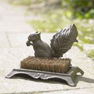 Autumn Squirrel Cast Iron Boot Brush And Scraper - tools & equipment