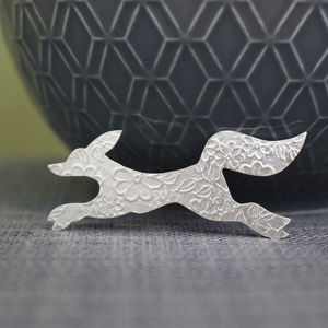 Sterling Silver Watercolour Small Fox Brooch