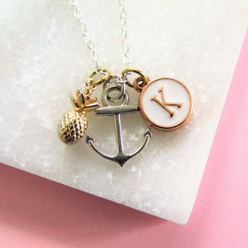 Anchor Pineapple And Initial Personalised Necklace