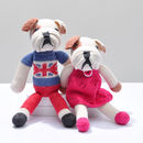 Hand Knitted Bulldog Soft Toys In Organic Cotton