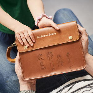 Personalised Leather Family Travel Wallet