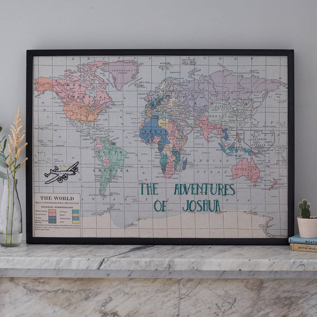 Personalised Embroidered Fabric Map Notice Board