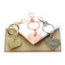 Heart And Star Metal Keyring
