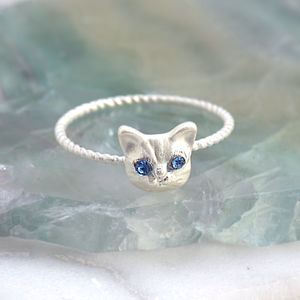 Jewel Eyed Cat Ring - rings