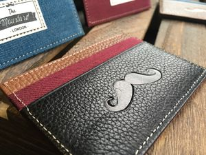 Leather And Denim Moustache Cardholder - wallets