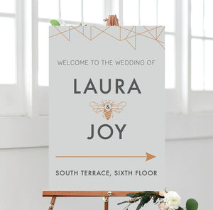 Geometric Wedding Welcome Sign - room decorations