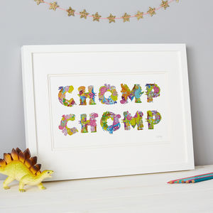 'Chomp Chomp' Dinosaur Sticker Kids Typography Artwork - mixed media pictures for children