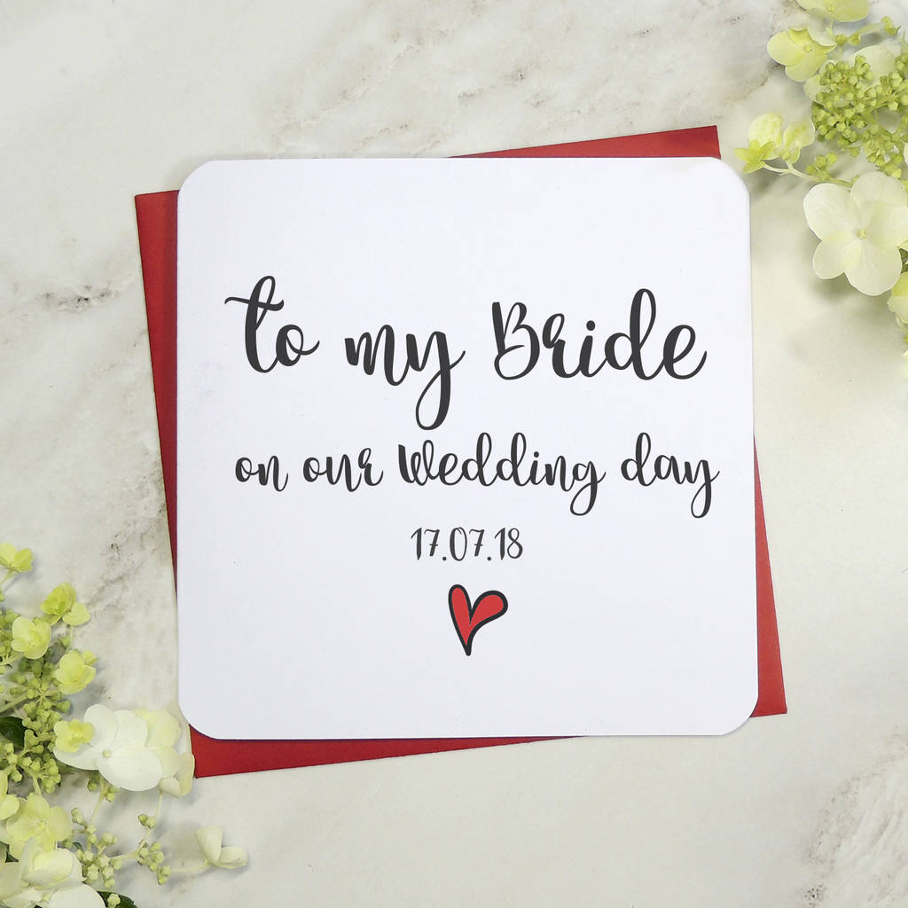 to my bride groom on our wedding day card by parsy card co