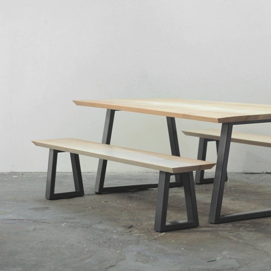 Wood and steel dining table bench set by heather scott