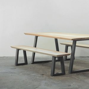 Wood And Steel Dining Table And Bench Set - furniture