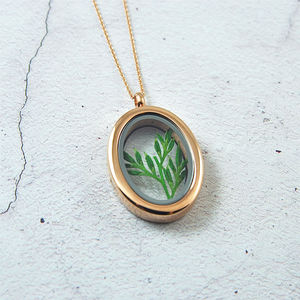 Rose Gold Botanical Leaf Sprig Locket - necklaces & pendants