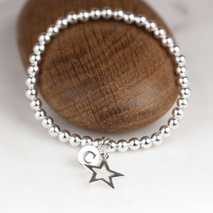 Personalised Children's Silver Star Bracelet - weddings
