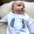 Organic 'Give Me A Hedgehug' Long Sleeved Baby Romper