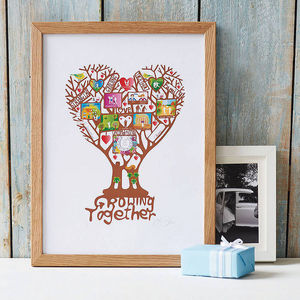 Personalised Name And Date 'Growing Together' Print