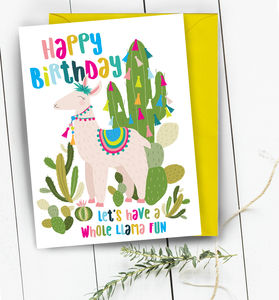 Happy Birthday Llama Cactus Greeting Card