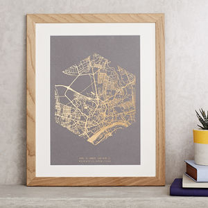 Metallic Personalised Map Print - for her