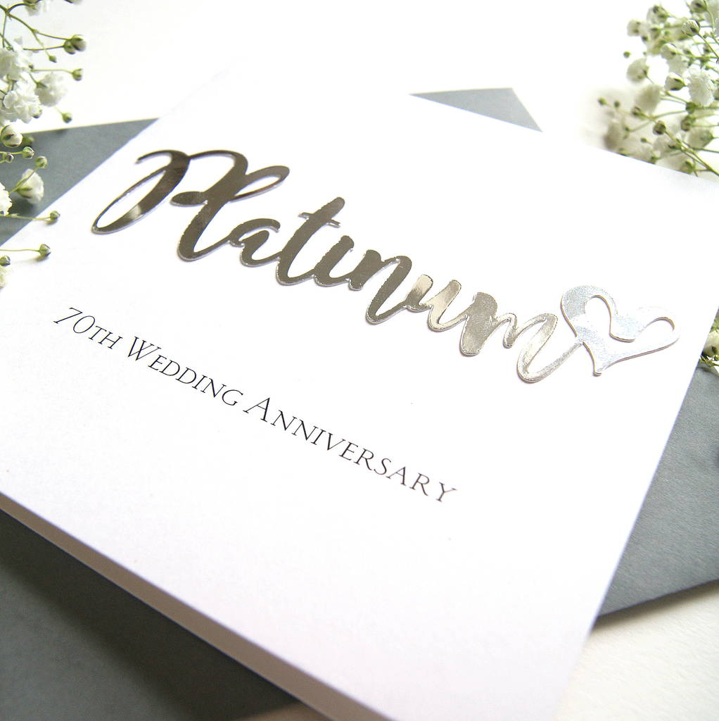 70th Wedding Anniversary Gift: 70th Platinum Wedding Anniversary Card By The Hummingbird
