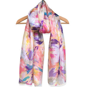 Large 'Brushstrokes' Pure Silk Scarf - scarves
