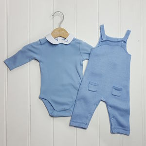 Baby Boy Knitted Overall And Bodysuit Set