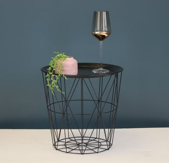 Black Metal Side Table With Tray