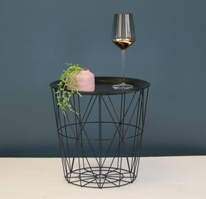 Black Metal Side Table With Tray - side tables