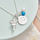 Personalised Silver Fairy Charm Birthstone Necklace - Turquoise Birthstone