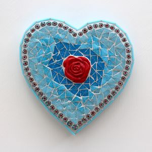 Red Rose And Shades Of Green Heart Mosaic Wall Art