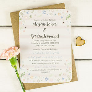 Pastel Floral Watercolour Evening Invite With Pearls - engagement & wedding invitations