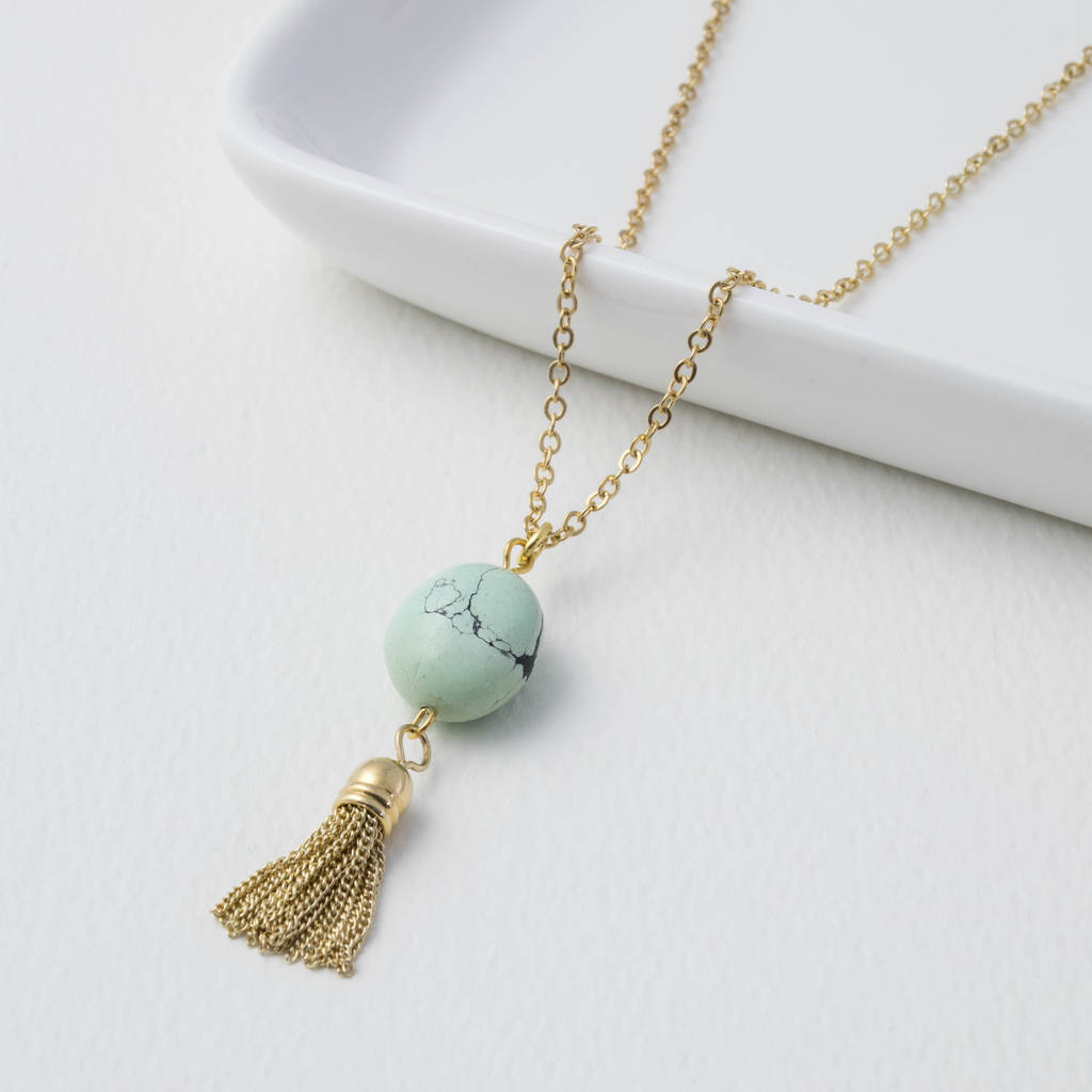 Lemon Turquoise Nugget Tassel Necklace