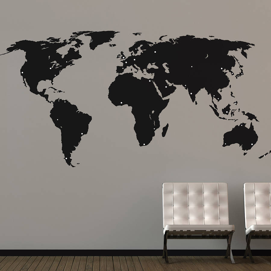 World map sticker for wall india - World Map Wall Stickers