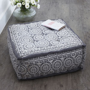 Grey Square Moroccan Pouffe - furniture
