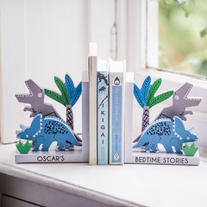 Personalised Dinosaur Wooden Bookends - decorative accessories