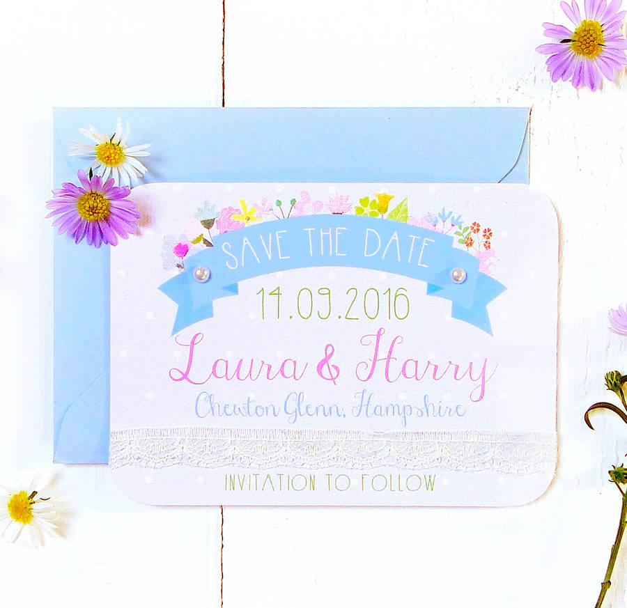 Summer Flower Wedding Save The Date Card