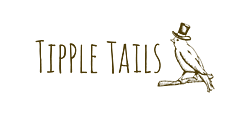 Tipple Tails logo with the brand name and a pencil drawing of Mr Tipple Tails - a blackbird wearing a top hat and standing on a branch