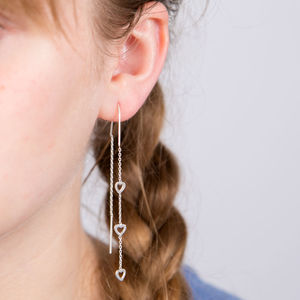 Cascading Heart Silver Earrings