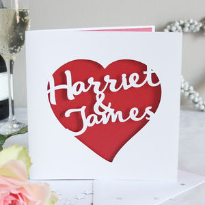 Personalised Love Heart Card - engagement cards