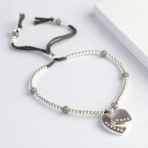 Personalised Double Heart Bead And Crystal Bracelet - summer sale