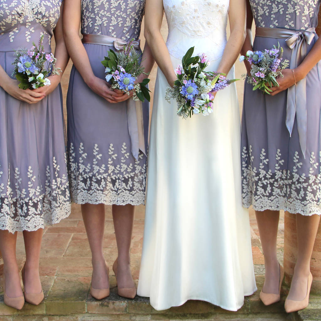Bespoke lace bridesmaid dresses in periwinkle blue for Periwinkle dress for wedding