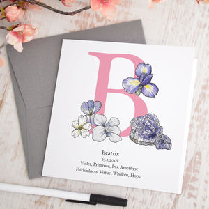 Personalised Birth Flower And Birth Stone Card