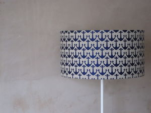 Nautical Anchor Linen Lampshade - lighting