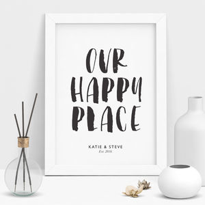 'Our Happy Place' Personalised Print - typography