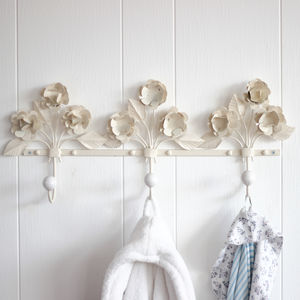Parisian 3D Ivory Floral Three Hook Board - children's room accessories