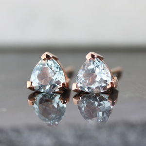 Sky Blue Topaz Trillion Earrings - gifts for her