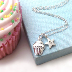 Cupcake With Initial Star Necklace
