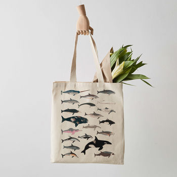 Whale And Dolphin Canvas Tote Bag