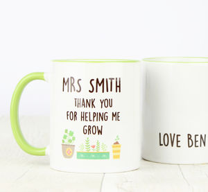 Personalised Thank You Teacher Gift Mug - tableware