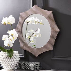 Faux Leather Octagonal Wall Mirror